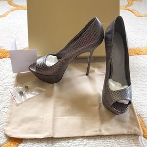 "Sergio Rossi ""Boston"" Peep Toe Pump"